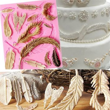 Vintage Feather Collections Fondant Silicone Cake Mould Cupcake Mold Clay Rubber Bakeware