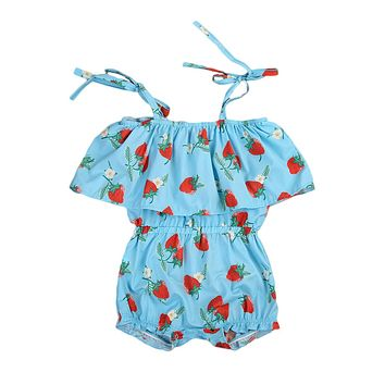 Strawberries Summer Off-shoulder Strap Newborn Baby Girls Romper Babies Girl Playsuit Outfits Sunsuit Clothes Floral Clothing
