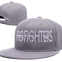 YUDUODUO Foo Fighters Band Logo Adjustable Snapback Embroidery Hats Caps - Grey
