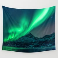 Wall Tapestry, Mountain Tapestry, Wall Hanging, Aurora Borealis Northern Lights Sky,Nature Large Photo Wall Art, Modern Tapestry, Home Decor