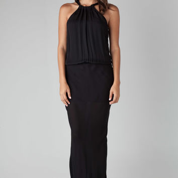 Nili Lotan Ribbon Tie Maxi Dress in Black