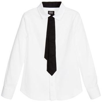 Armani Junior Boys White Shirt with Printed Tie