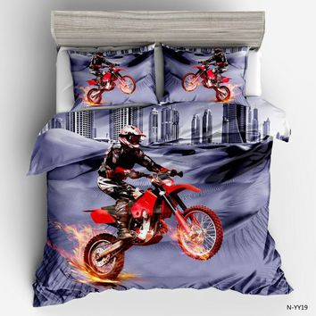New 2018 High Quality 3D Motorcycle Racers Duvet Cover Sets Pillowcase Blue red Twin Full Queen king size fashion Bedding Sets