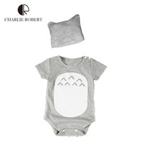 2pcs Baby Clothing Baby Girl Bodysuit Hat Set Short Sleeve Kawaii Totoro Clothes Newborn Infant Baby Girl Costumes Animals HK820