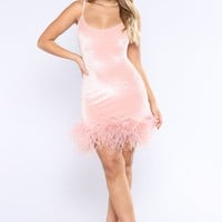 High School Reunion Feather Dress - Blush