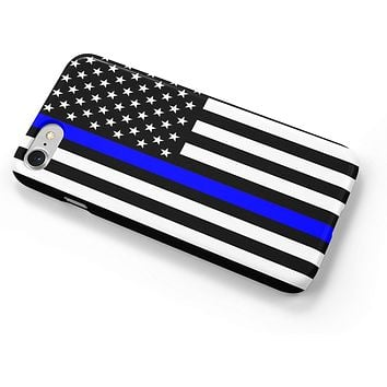 Thin Blue Line Police Officers Flag iPhone Case Cover 5/5S/SE/6/6S 6/6S 7 8 Plus X XS XR XS MAX 3D Wrap Around Case