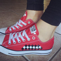 Custom Studded Red Checkered Converse All Star Chuck Taylors - ALL COLORS & SIZES! Custom Red Chucks; Wedding Converse; Festival Shoes; Punk