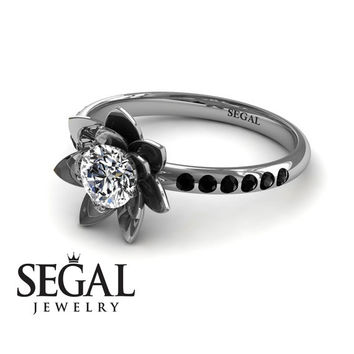 Unique Engagement Ring Diamond ring 14K White Gold Flower White diamond With Black Diamond - Lotus