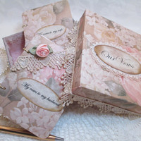 Wedding Vow Book Set - Shabby Chic- Pink- Peach- Cream with Matching Keepsake Box