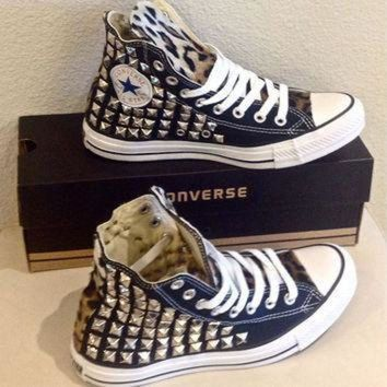 CREYON custom converse chuck taylors studded on both sides with faux leopard fur any size an