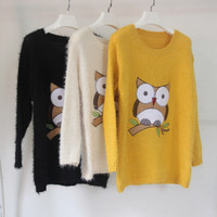 Front Night Owl Print Pullover Sweater