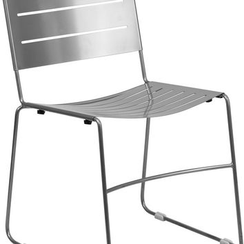 Series Silver Indoor-Outdoor Metal Stack Chair