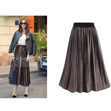 Elastic High Waist Midi Skirts Korean Metal Color Pleated Velvet Skirt Women Maxi Long Jupe Vintage Fashion Clothing Black Saia