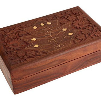 Wooden Jewelry Storage Box or Organizer Hand Carved From Rosewood
