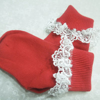 Red little girls, childrens cuff bobby socks with white Venise lace, Stocking Stuffers, Holiday gift, Christmas socks by Marlene'sAttic