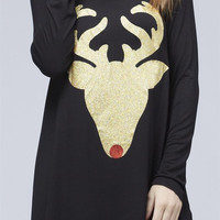 Christmas Rudolph Face Tunic, Black-Gold