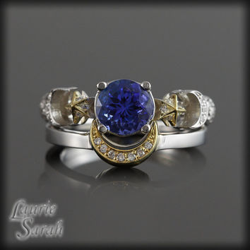 Tanzanite and Pave Set Diamond Earth, Crescent Moon, Sun and Stars Wedding Ring Set in 14kt White and Yellow Gold - LS2722