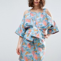 ASOS SALON Bow Front Kimono Mini Dress in Tropical Jacquard at asos.com