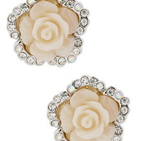 Betsey Johnson Silver-Tone Rose and Crystal Stud Earrings