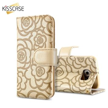KISSCASE 3D Flower Phone Case For iPhone 6 6S 7 Plus For Samsung S7 S6 Edge Note 5 Fashion Card Slot Camellia Flip Leather Cover