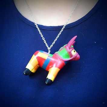 Pinata Necklace Pinata Donkey Cinco de Mayo Kitsch Necklace Kawaii Necklace Carnival Prize Necklace  Great Stocking Stuffer