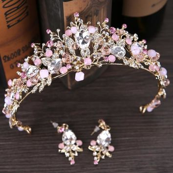 Pink Crystal Wedding Bridal Tiara Crown Princess Queen Pageant Prom Rhinestone Veil Tiara Headband Wedding Hair Accessory