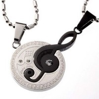 R.H. Jewelry Stainless Steel Musical Couple Matching Set Pendants