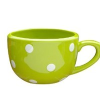 Terramoto Ceramic Polka Dots Soup Mug, 16-Ounce, White on Moss Green