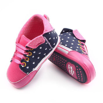 Hot Spring Autumn Baby Shoes New Arrival Beautiful Polka Dot Riband Canvas Baby Girl Walking Shoes 0-15 Months