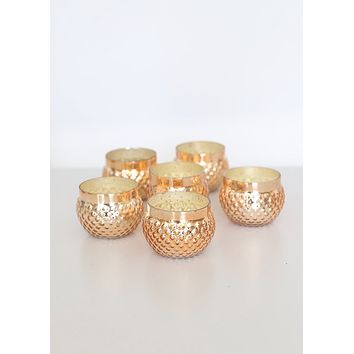 "Rose Gold Mercury Glass Candle Holder - 2"" Tall x 2.75"" Wide"
