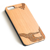 Giraffe Natural wood handmade precise laser engraved iPhone case WA008