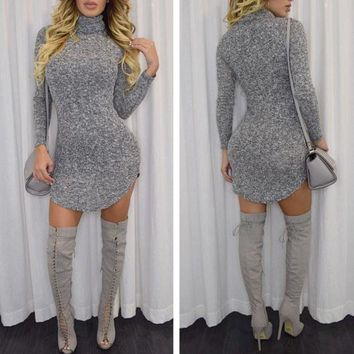 DCCKVQ8 Fashion Simple Solid Color Bodycon Turtleneck Long Sleeve Irregular Mini Dress