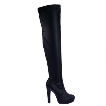 Yokun Stretch Thigh High Over Knee OTK Platform High Heel Dress Boots