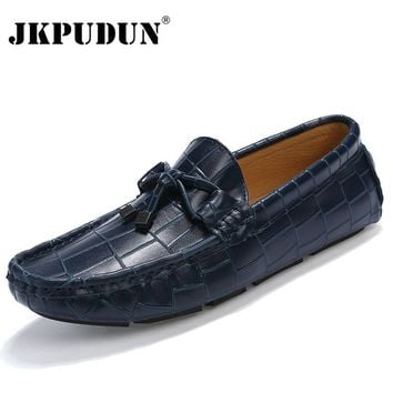 JKPUDUN Crocodile Leather Men Loafers Casual Moccasins Designer Italian Shoes Men Espadrilles Luxury Brand Breathable Boat Shoes
