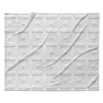 "KESS Original ""Palace Ceiling Tiles"" White Abstract Fleece Throw Blanket"