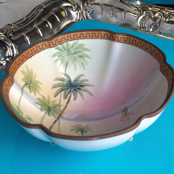 Antique Nippon Hand Painted Porcelain Bowl, Palm Trees, Footed Candy Dish, Serving Bowl, Green, Art Deco Housewarming Gift