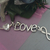 I Love You Forever Love KeyChain Infinity Symbol Heart bead and Love Charm Key Chain Ring Girlfriend Gift