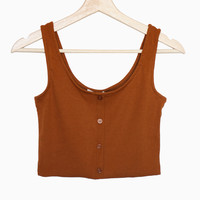 Button Accent Cropped Top