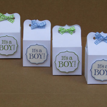 It's a Boy Baby Shower Candy Favor Box - Blue / Green Gingham Ribbon - It's a Boy - Baby Shower Favor Bags - 2X2X2 Box - Set of 10