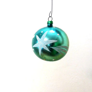 Vintage Glass Ornaments / West Germany / Hand Painted Star / Green Ball Ornament / Christmas Ornaments / Mica Glitter / 50s Ornaments