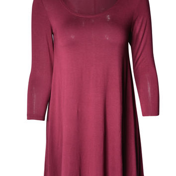 Women Round Neck Long Sleeve Casual Tunic Babydoll Skater Dress Top