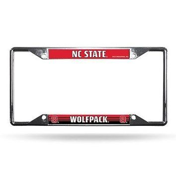 North Carolina NC State Wolfpack NCAA Chrome EZ View License Plate Frame