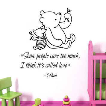 Winnie The Pooh Wall Decal Quote Some People Care Too Much Piglet Vinyl Stickers Home Bedroom Interior Design Love Kids Nursery Decor KI165