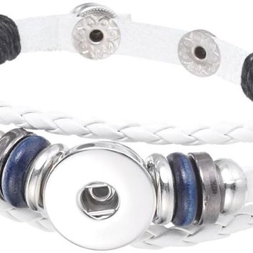 White with Blue Beads DIY Leather Bracelet Multiple Colors for 18MM - 20MM Snap Jewelry Build Your Own Unique