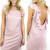 Cardrona Rose Pink Faux Suede Dress