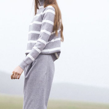 Gray Striped Soft Angora and Cotton Pullover