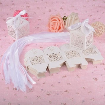 Sweet Love Cute Ribbon Wedding Favor Candy Boxes Gift Box for Wedding New 50 PCs Z_G (Color: Silver) = 1932815556