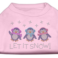 Let It Snow Penguins Rhinestone Shirt Light Pink XS (8)