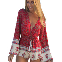 Red Floral V-neck Bell Sleeve Romper