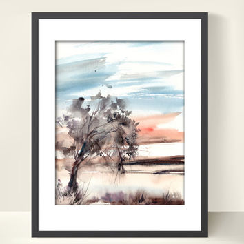Landscape Watercolor Painting Art Print, Landscape with Tree Abstract Watercolour Modern Art